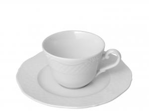 6 Tazze Caffe' Con Piatto In Porcellana Arianna Bianco