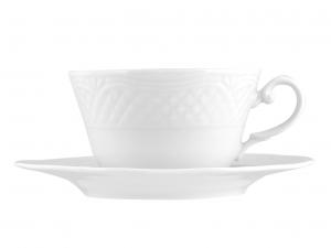 6 Tazze Colazione Con Piatto In Porcellana Arianna Bianco Cc