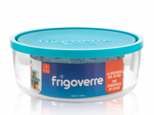 Frigoverre In Vetro Tonda Tappo Azzurro Cm18
