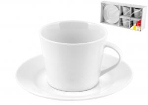 Confezione 4 Te' Porcellana Bianco Con Piatto Cc200      515
