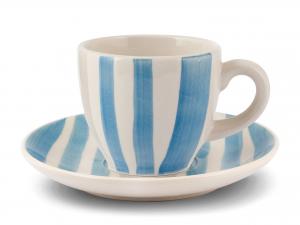 Set 6 Tazzine Con Piattino In Stoneware, 100 Ml, Blu/grigio