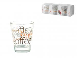 Confezione 6 Bicchieri In Vetro Caffeino Decoro Mix