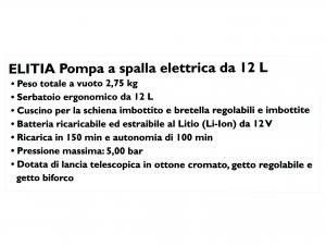 Pompa Irror Elitia 12l Bt/ricar 12v
