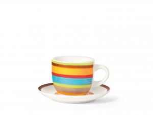 Home 100 Righe Set 6 Tazze Caffè, Con Piattino, Stoneware, C