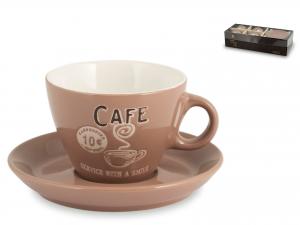 Home Confezione 4 Cappuccio Con Piatto Decorazione Cafè Beig