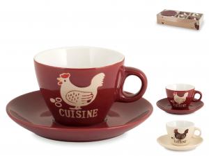 Home Confezione 4 Tè Con Piatto Stoneware Decorazione Gallo