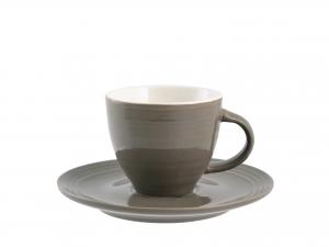 H&h Set 6 Tazze Caffè Good Morning Marroni Con Piattino 80cc