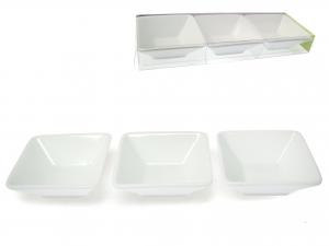 Set 3 Antipastiera Porcellana Bianco Quadr10 1572
