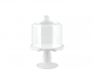 H&h Alzata Ceramica Con Campana Vetro 14xh10cm