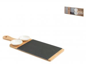 H&h Tagliere In Ardesia E Bambu' Con 2 Coppe In Ceramica