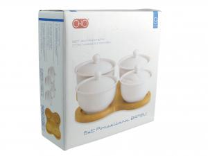 Antipastiera Porcellana Bianco 4 Posti B/bamb3806w