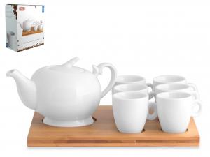 Servizio Caffe' 7pz Porcellana Bianco B/bamb 3464w