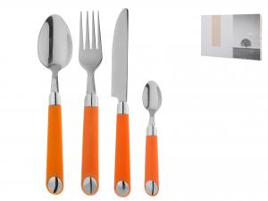 Servizio Posate In Acciaio E Plastica, 24 Pezzi, Arancio