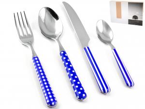 Servizio Posate 24 Pezzi Provence Decoro Blu