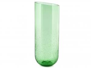 Vaso In Vetro Cracklè, H37 Cm, Verde