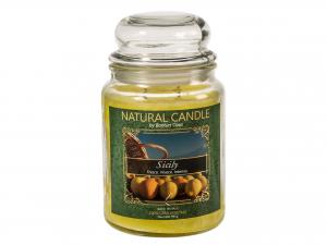 Nature Candle Candela Profumata Sicily, 100% Cera Vegetale,