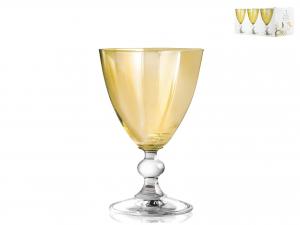 H&h Confezione 6 Calici In Vetro Splendor Ambra Vino Cl17