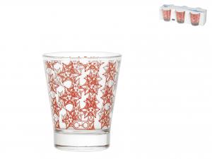 Confezione 6 Bicchieri In Vetro Grace Rosso Cl8,5