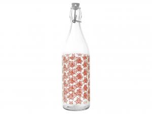 Bottiglia In Vetro Decoro Grace Rosso Lt1