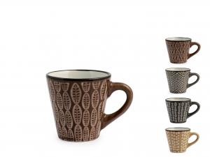 6 TAZZE CAFFE' IN STONEWARE ETHNIC ASSORTITE