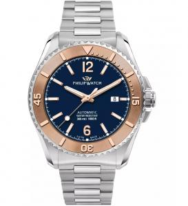 Philip Watch Amalfi Diving - Meccanico automatico, quadrante blu ghiera rose gold