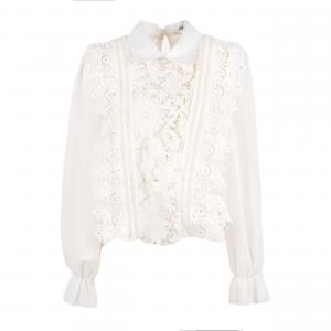 Camicia bianca con pizzo e ruches  di ODI' ODI'