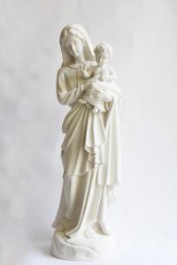Statua Madonna con Bambino in Polvere di Marmo cm 80