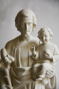 Statua Giuseppe con Bambino in Polvere di Marmo cm 80