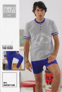 ENRICO COVERI EUC8712N. Pigiama Uomo 3 pezzi. Pantalone corto + Lungo. Cotone.