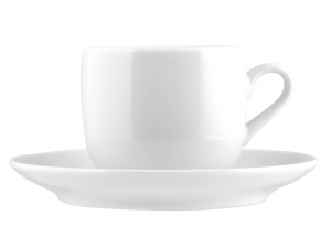 6 Tazze Caffe' Con Piatto In Porcellana Oslo Bianco 0,11