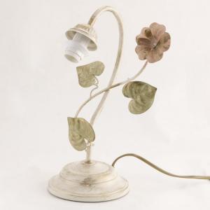 Lumetto a 1 luce, montatura avorio con fiore rosa e foglie.