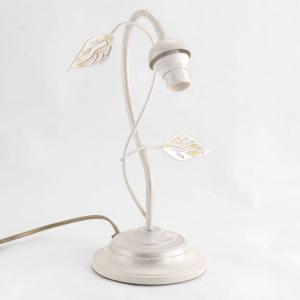 Lumetto a 1 luce, montatura avorio con foglie laser