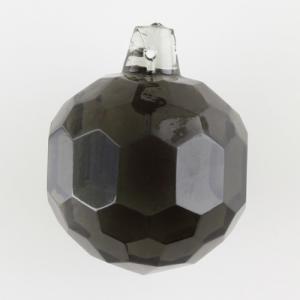 Sfera sfaccettata in cristallo antico di Boemia Ø50 mm grigio scuro. Per restauri illuminazione vintage.