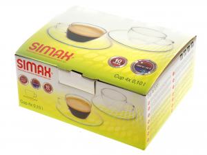 Confezione 4 Tazze Caffe' Con Piatto In Borosilicato Cl10 26