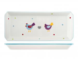 H&h Piatto In Ceramica Rettangolare Gallinelle 33x14x3