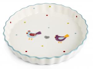 H&h Piatto In Ceramica Torta Gallinelle 26,5x4 - Arredo Tavo