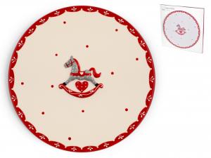 H&h Cavallino Piatto Torta Ceramica Tondo Cm30