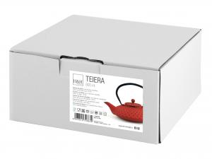 H&h Teiera In Ghisa E Smalto, Rosso, Lt 0,80, Con Filtro