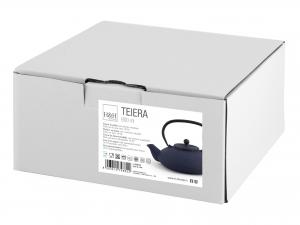 H&h Teiera In Ghisa E Smalto, Blu, Lt 0,80, Con Filtro