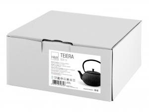 H&h Teiera In Ghisa E Smalto, Nero, Lt 0,80, Con Filtro