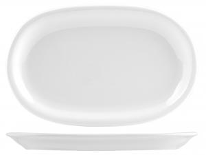 6 Piatti In Porcellana Bianco Ovale Ala Cm28 6018