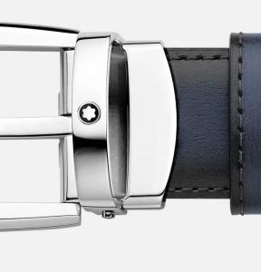 Cintura Montblanc reversibile in pelle nera/blu 30 mm