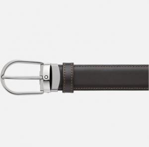 Cintura Montblanc reversibile in pelle nera/marrone 30 mm con fibbia a ferro di cavallo