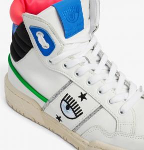 Sneakers alte  bianche con logo Chiara Ferragni