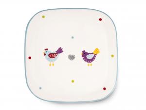 H&h Sotto Pentola In Ceramica Quadrato Gallinelle 20x1,5