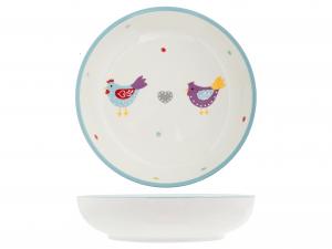 H&h Piatto In Ceramica Tondo Gallinelle 18x4,5 - Arredo Tavo