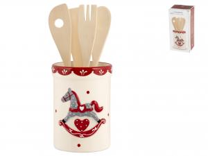 H&h Cavallino Porta Mestoli Ceramica Con 4 Mestoli Legno
