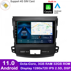 ANDROID autoradio navigatore per Mitsubishi Outlander Citroen C-Cross Peugeot 4007 2006-1012 CarPlay Android Auto GPS USB WI-FI Bluetooth 4G LTE