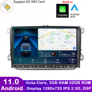 ANDROID autoradio navigatore per Golf 5 Golf 6 Passat Tiguan Jetta Polo Touran Caddy Scirocco GPS WI-FI Bluetooth MirrorLink Car-Play 4G LTE