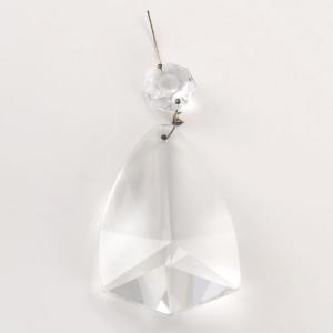 Pendente cristallo di Boemia H 90 mm con ottagono. Per restauri antichi e ricambi vintage.